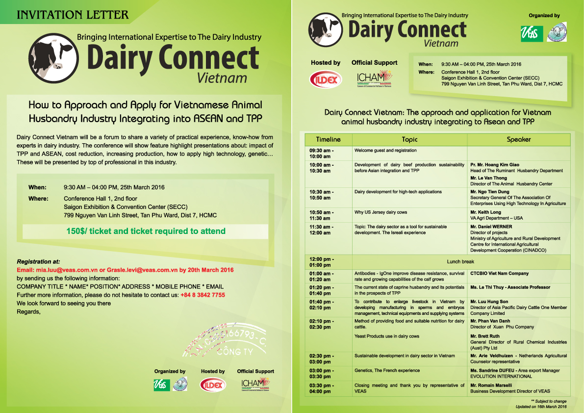 "Bringing International Expertise to the ""Dairy Industry in Dairy Connect Vietnam conference"""